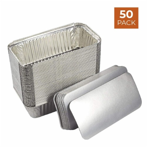 50 Pack Disposable Aluminum Foil Loaf Pans with Lid, 22 Ounce, 8.5 x 2.5 x 4.5 inches Perspective: back