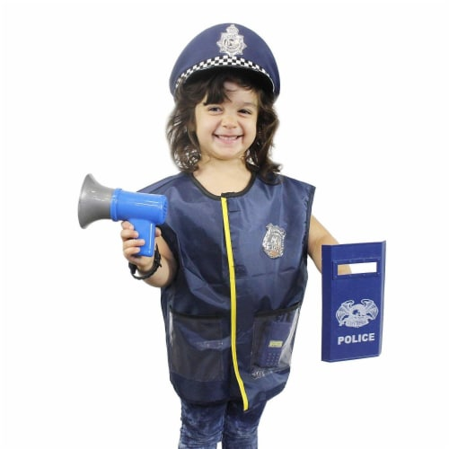 Police Uniform for Kids - 14-Piece Police Officer Costume Role Play Kit Perspective: back