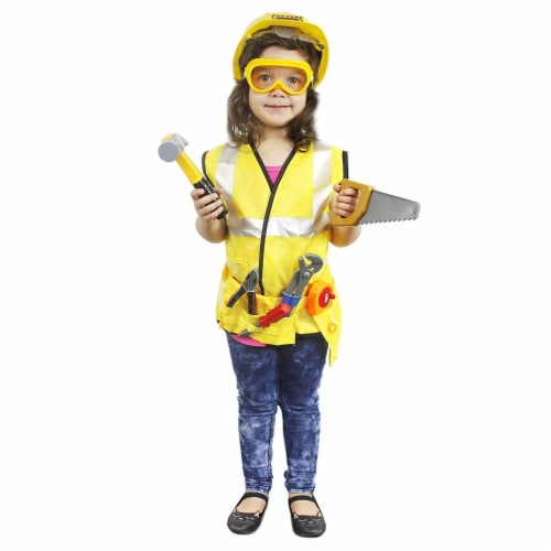 Kids Role Play Costume Set - 10-Piece Construction Worker Costume for Kids Perspective: back