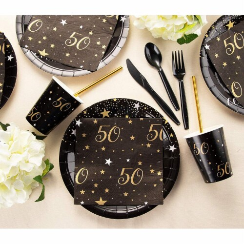 50th Birthday Party Dinnerware Bundle, Serves 24 Guests (144 Pieces) Perspective: back