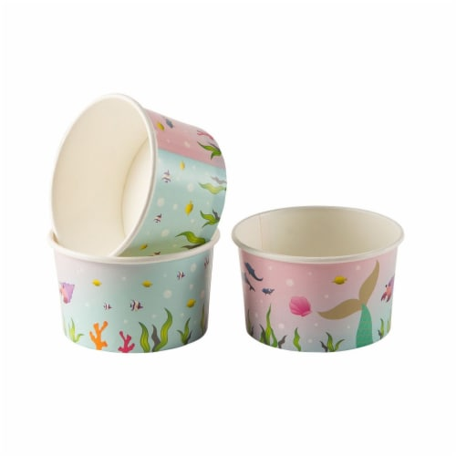 Ice Cream Sundae Cups - 50-Piece Disposable Paper Dessert Ice Cream Yogurt Bowls Perspective: back