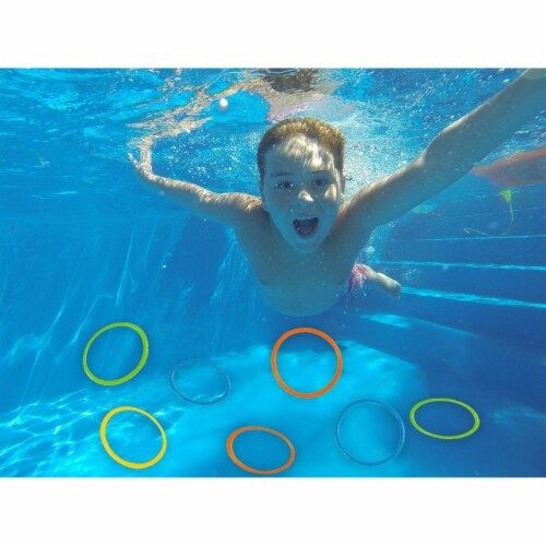 12 Pack Dive Ring Toys, Pool Toys for Kids, Multicolored, 6.3 Inches in Diameter Perspective: back