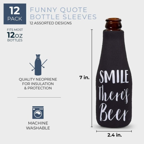 12-Pack Funny 12 Ounce Insulated Beer Bottle Coozie Cooler Zipper Sleeves, 2.4 x 7 Inches Perspective: back