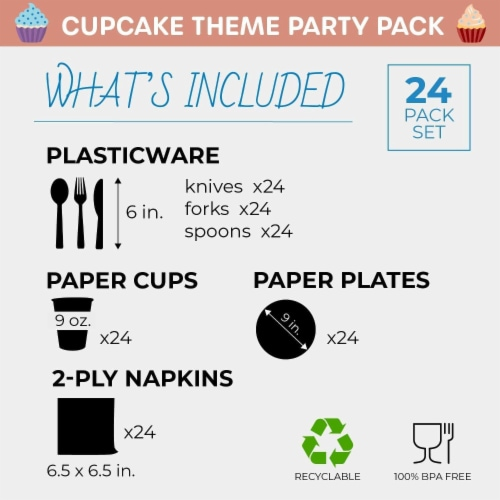 Cupcake Party Supplies, Paper Plates, Napkins, Cups and Cutlery (Serves 24, 144 Pieces) Perspective: back