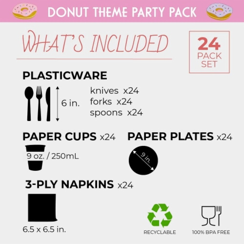 Serves 24 Donut Party Supply Knives, Spoons, Forks, Paper Plates, Napkins, Cups Perspective: back