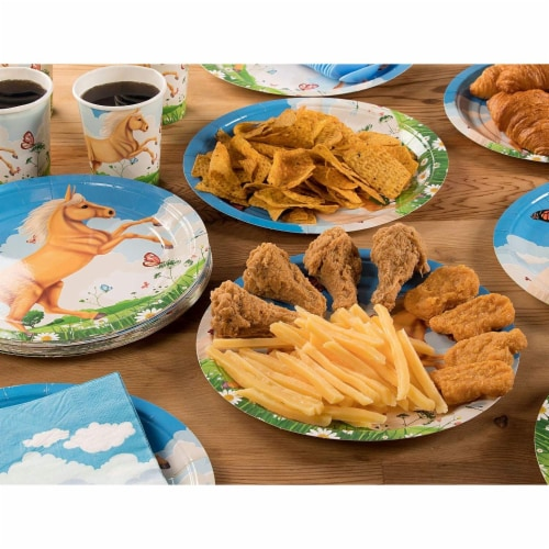 Horse Party Supplies, Paper Plates, Napkins, Cups and Plastic Cutlery (Serves 24, 144 Pieces) Perspective: back