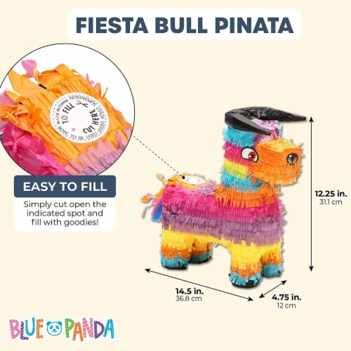 Bull Piñata for Kids Birthday Party or Cinco De Mayo (14.5 x 12 x 4.8 in) Perspective: back
