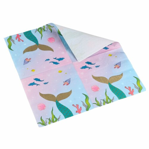 Mermaid Party Supplies, Luncheon Napkins (6.5 x 6.5 In, 150-Pack) Perspective: back