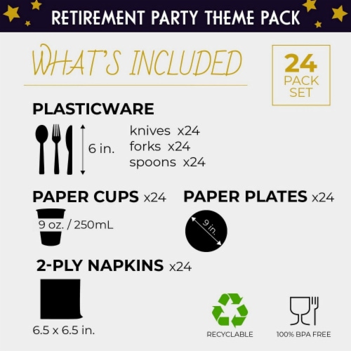 Retirement Party Bundle, Includes Plates, Napkins, Cups, and Cutlery (24 Guests,144 Pieces) Perspective: back