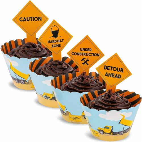 100-Piece Construction Zone Cupcake Toppers and Liners for Kids Birthday Party Supplies Perspective: back