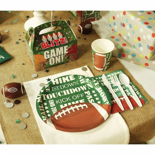 Football Party Bundle Includes Plates, Napkins, Cups, and Cutlery (Serves 24, 144 Pieces) Perspective: back