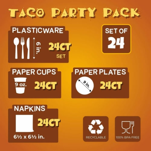 24 Set Mexican Taco Fiesta Party Pack Supply Plate Knives Spoon Fork Napkin Cup Perspective: back