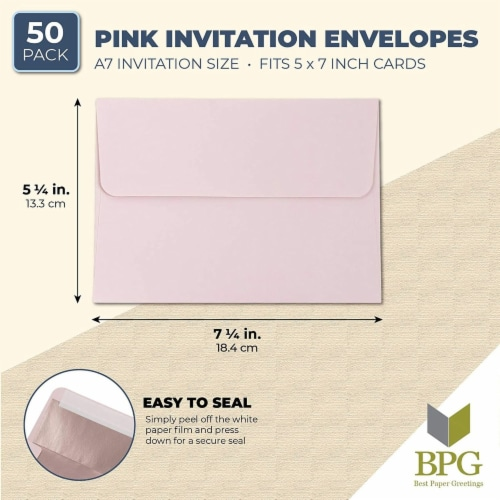 50-Pack A7 Blush with Rose Gold Foil Lined Wedding Birthday Invites Envelopes Perspective: back