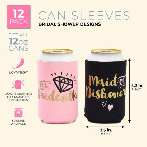 Bachelorette Can Sleeves for Cold Drinks, Party Favors (12 Designs, 12 Pack) Perspective: back