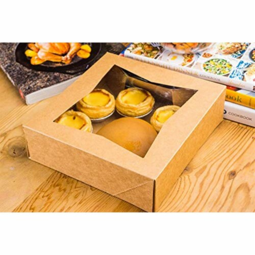 "10 Brown Kraft Paperboard Pop-Up Window Box, Pastry  Cake Bakery, 8""x8""x2.5"" Perspective: back"