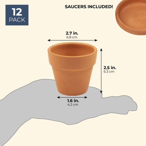 Juvale Small Terra Cotta Pots with Saucer- 12-Pack Clay Flower Pots with Saucers Perspective: back