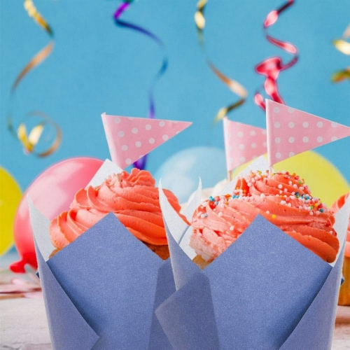100-Pack Navy Blue Paper Tulip Cupcake Liners, Muffin Wrappers, Baking Cups Perspective: back