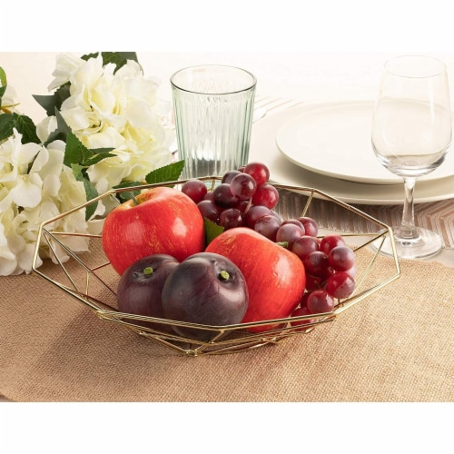 2 Pcs Wire Fruit Basket, Modern Metallic Gold Fruit Bowl with Geometric Design Perspective: back