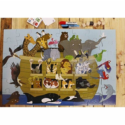 Noah's Ark Jumbo Floor Jigsaw Puzzle for Kids and Family, Age 3-5, 48-Piece, 1.9 x 2.9 Feet Perspective: back