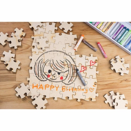 Blank Unfinished Wooden Jigsaw Puzzle (100 Pieces) Perspective: back