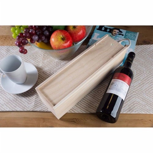 Juvale 2-Pack Wooden Wine Gift Box with Handle for Party, Housewarming, 13.9 x 3.9 x 4 Inches Perspective: back