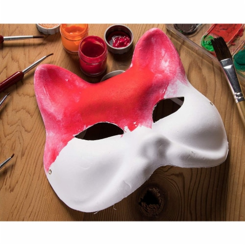 12 Pack Paper Mardi Gras Paper Masks - for DIY and Masquerade Party, White Perspective: back