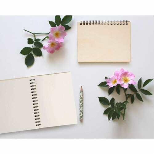 Wooden Cover Spiral Journal Notebooks, 20 Sheets Each (4.5 x 5.8 In, 4 Pack) Perspective: back