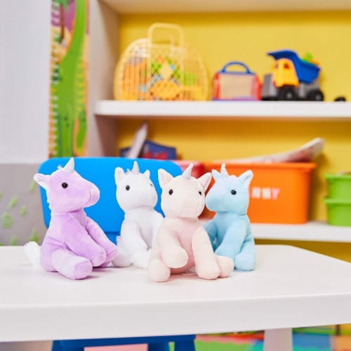 "4-Pack 7"" Stuffed Plush Unicorns Toy - with Silver Horns, for Kids Birthday Gift Perspective: back"