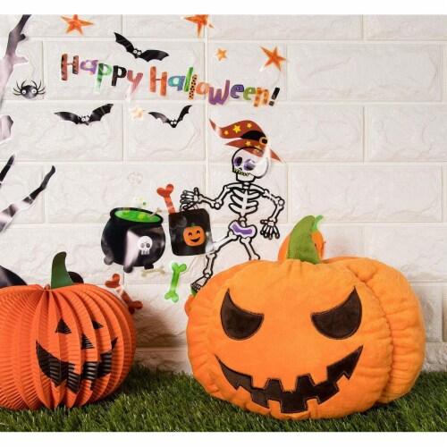 "Jack-O-Lantern Pumpkin Plush Stuffed Doll, Halloween Toy Pillow Cushion Gift 9"" Perspective: back"