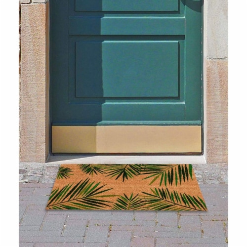 Tropical Green Palm Welcome Mat, Natural Coir Doormat (30 x 17.2 x 0.5 in) Perspective: back