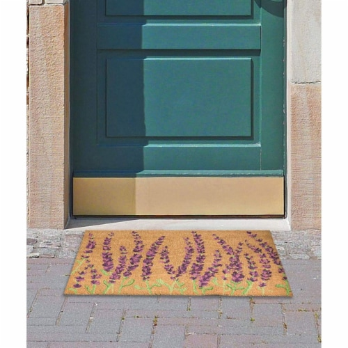 Lavender Plant Welcome Mat, Natural Coir Doormat (30 x 17.2 x 0.5 in) Perspective: back