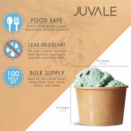 Ice Cream Sundae Cups - 50-Piece Disposable Kraft Paper Dessert Ice Cream Bowls Perspective: back