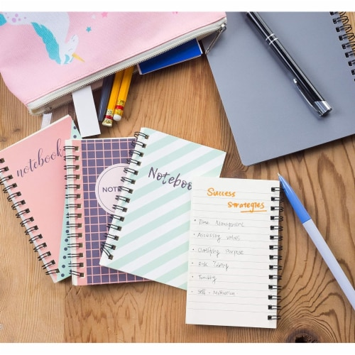 Pocket Size Spiral Lined Journal with Lined Pages, 50 Sheets Each (3x5 In, 12 Pack) Perspective: back
