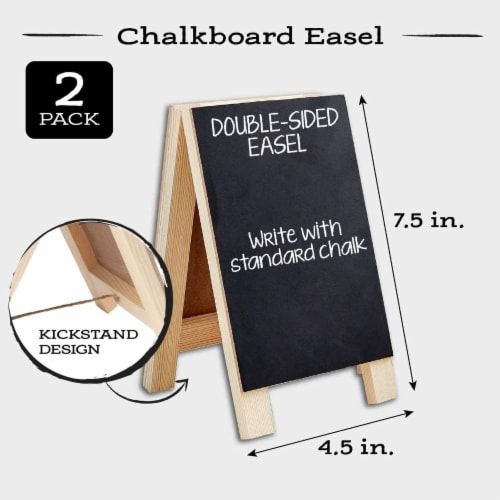 2-Pack Small Chalkboards with Frames, Easel Menu Board for Wedding Parties (4.5 x 7.5 in) Perspective: back