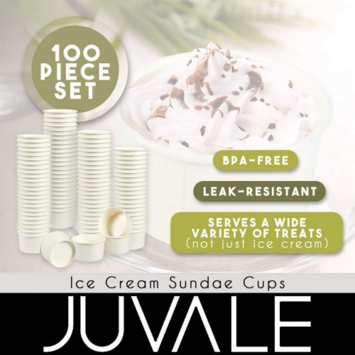 100-Piece White Disposable Ice Cream Sundae Paper Cups Party Supplies, 5-Ounce Perspective: back