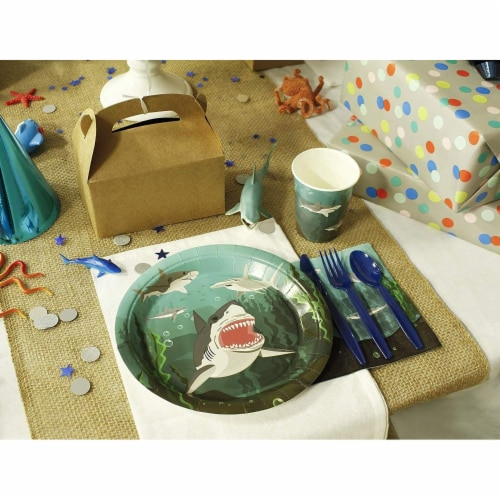 Shark Party Bundle Includes Plates, Napkins, Cups, and Cutlery (Serves 24, 144 Pieces) Perspective: back
