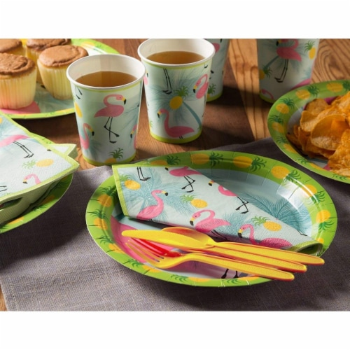 Flamingo Party Bundle Includes Plates, Napkins, Cups, and Cutlery (Serves 24,144 Pieces) Perspective: back