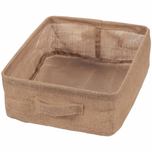 2 Pack Collapsible Linen Fabric Storage Bin Basket with Handle For Cloth Storage Perspective: back