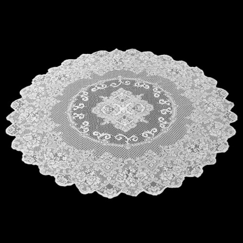 Juvale 59-Inch Round Decorative Lace Tablecloth with Floral Patterns, White Perspective: back