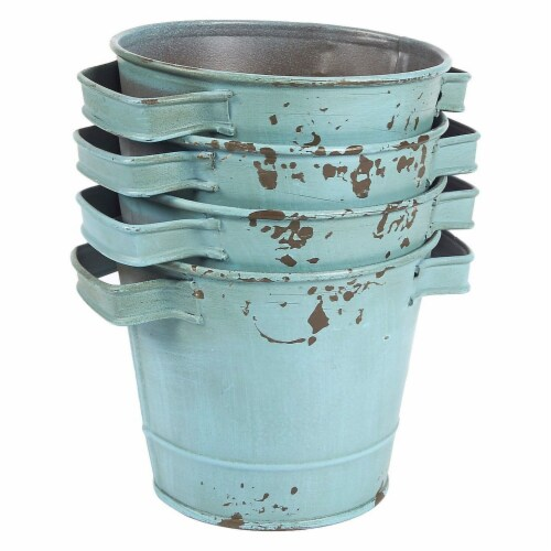 4-Set Galvanized Planter Garden Buckets with Handles for Planting, Decoration Perspective: back