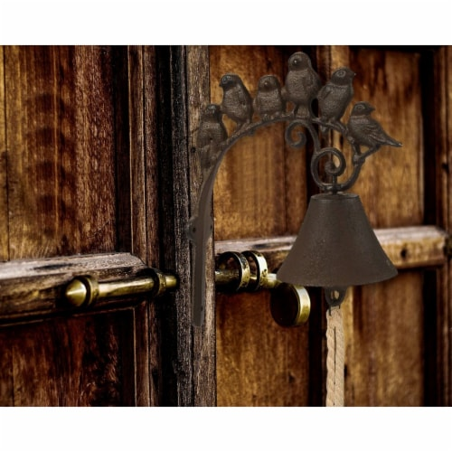 Iron Cast Door Bell - Rustic Birds Flock Door Chime Wall Mounted Front Door Bell Perspective: back