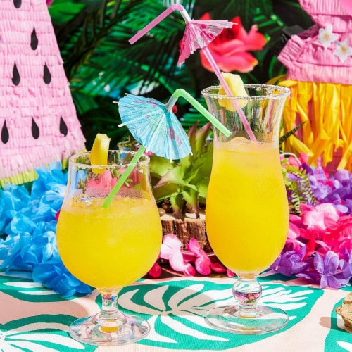 150x Disposable Tropical Hawaiian Luau Party Umbrella Cocktail Drink Straws Perspective: back