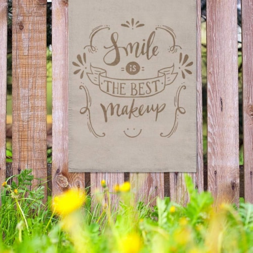 Blank Burlap Garden Flag, Rustic Outdoor Yard Sign (11 x 17 in, 4 pack) Perspective: back