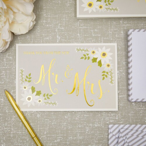 Wedding Thank You Cards with Striped Envelopes, Mr and Mrs (4x6 In, 48 Pack) Perspective: back