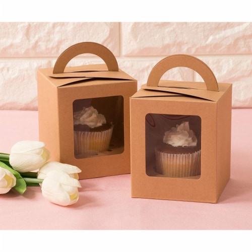 50-Pack Kraft Paper Cupcake Boxes with Clear Display Window, Brown, 3.7 x 4.2 x 3.7 Inches Perspective: back