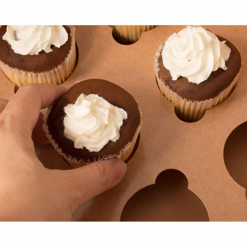 12-Pack Kraft Paper Cupcake Boxes Bakery Box with Display Window and Inserts Perspective: back