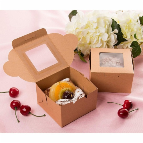 25 Pack Kraft Paper Cake Box with Display Window, 4 x 4 x 2.3 Inches, Brown Perspective: back