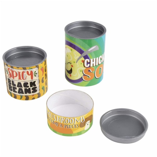 16-Piece Grocery Store Kids Pretend Play Stackable Cardboard Cans Toy Foods Perspective: back