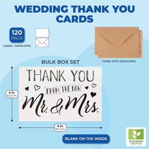 120 Pack Wedding Thank You Greeting Cards with Brown Envelopes in Bulk, 4x6 In. Perspective: back