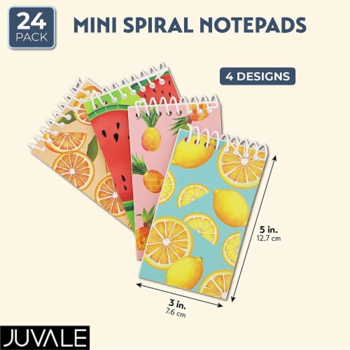 Juvale Mini Spiral Notebooks with 4 Fruit Designs (3 x 5 Inches, 24-Pack) Perspective: back